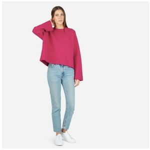Everlane Wool-Cashmere Square Crew in Pink
